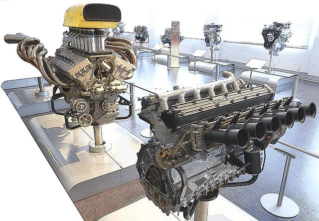 画像: 手前がプリンスR380用に開発されたGR8エンジン。基になったのは、2代目グロリア スーパー6に搭載された直6のG7型。奥のGRX-3まで、わずか6年で排気量は3倍、出力は約6倍にも怪物化した。
