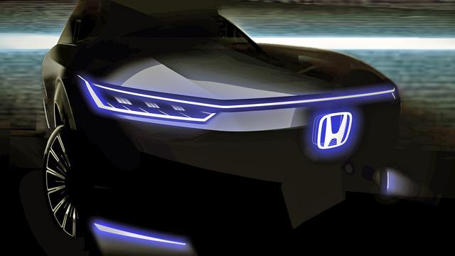 画像: ホンダから発表された画像を少し明るく加工してみた。グリルの厚さなどから、SUV風のスタイルと思われる。
