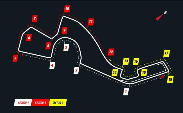 画像: ロシアGPが開催されるソチ・オートドロームのコース図。長いストレート、高速コーナー、連続する90度コーナーなど、独特のレイアウト。
