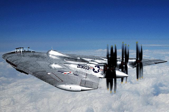 画像: ワスプメジャーを4基搭載する、試作爆撃機XB-35。現代のステルス爆撃機に酷似している。ジェットエンジンに置換されるまで、レシプロエンジン最後の役割を担った。