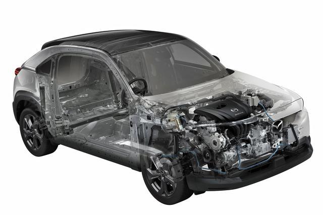 画像: マイルドハイブリッド「e-SKYACTIV G」のイメージイラスト。24Vのリチウムイオン電池は9個搭載、容量は10Ah。