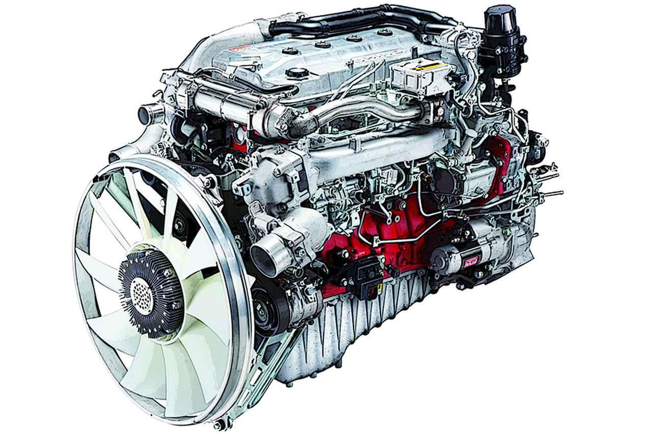 画像: レンジャー用ではなく、大型バス/トラック用A09C-TIエンジンを搭載する。本来、排出ガスの浄化を目的としたコモンレール燃料噴射装置+インタークーラー付きターボのチューンで、低回転でも強大なパワーを発揮する。