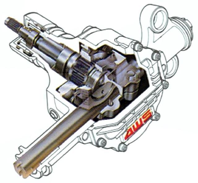 画像: プレリュードはハンドル操舵角に対応して、前輪と同相/逆相に後輪を作動させる舵角応動型4WSを採用。センターシャフトによって、リアステアリング・ギアボックスが操舵される。