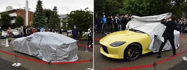 画像: ベールを纏ったシルエット(写真左)は「まさにS30だね」とS30.JPというクラブの会長も呟いた。そして霧雨が舞う中、待望のアンベール(写真右)。世界にたった1台しかないプロトタイプを、悪天候の元でお披露目するのは世界初?