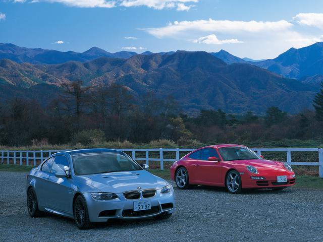 画像: BMW M3クーぺとポルシェ911カレラ。クルマとしての共通点は少ないが、ともに高性能なスポーツカーであり、そのあり方には興味深い点が多い。