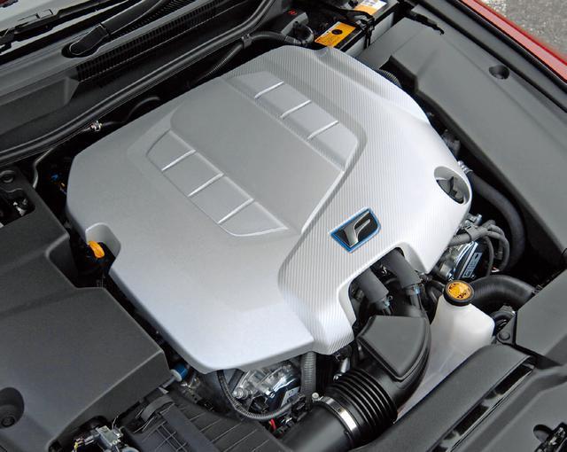 画像: レクサスIS Fに搭載されるエンジンはV8DOHC 排気量4968ccの2UR-GSE。LS600hの2UR-FSEとボア×ストロークは同じだがシリンダーヘッドまわりを専用開発している。