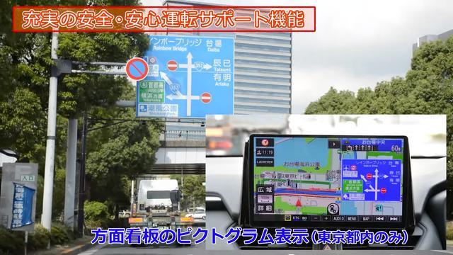 画像: ピクトグラム表示にも対応し、実際の方面看板と同じような図柄が表示される(東京都内のみ)。