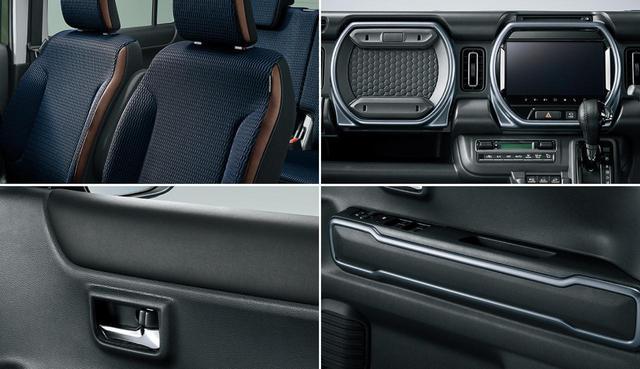 画像: ハスラー Jスタイルには、ブルー系の専用表皮を用いたフロントシートや、ブルーイッシュシルバーのアクセントカラーをコクピットに採用するなど、特別装備を採用する。