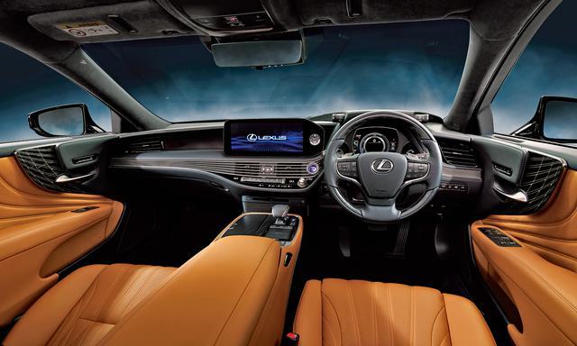 画像: LS500h エグゼクティブ(オプション装着車)。インテリアカラーはオーカー。