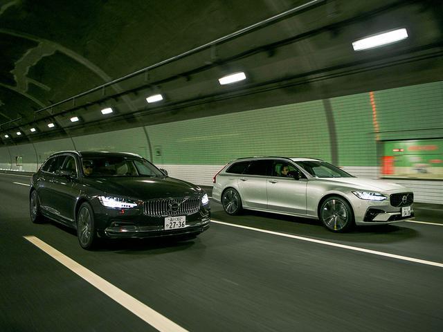 画像: Bモデルは、ISGMの回生ブレーキで発電した電力を48Vリチウムイオンバッテリーに蓄電するマイルドハイブリッド。<右:V90 B6 AWD インスクリプション/左:V90 B6 AWD Rデザイン>