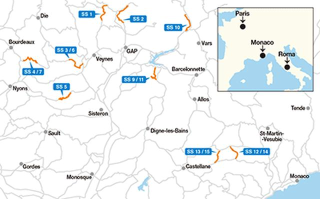 画像: 2021年のラリー・モンテカルロのSSコース図。モンテカルロの裏山、フランスアルプスの山岳地帯を舞台に行われる。