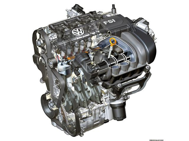 画像: ノンターボの直噴エンジン、TFSIユニットの透視図。