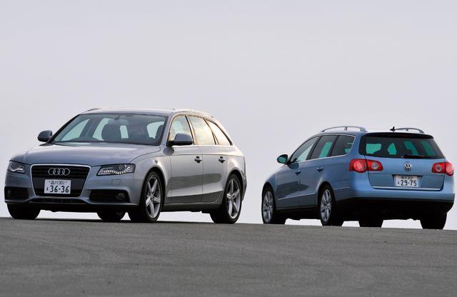 画像: アウディ A4アバント 1.8TFSI(左)とフォルクスワーゲン パサートヴァリアント 2.0TSI スポーツライン。ともにDセグメントの人気モデルとしてライバル関係にある2台から、フォルクスワーゲンとアウディの考え方の違いが見てとれる。