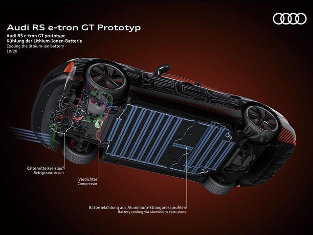画像: 床下にフラットに配されたリチウムイオン電池は総容量93.4kWh。最大航続距離は約400kmとのこと。