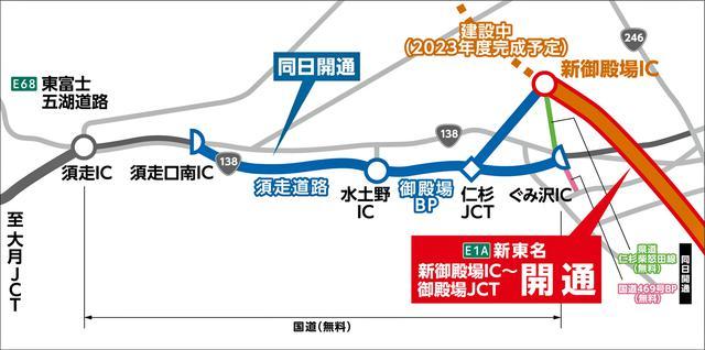 画像: 同時に開通する国道138号の須走道路と御殿場バイパス(西区間)は、東富士五湖道路と接続される。