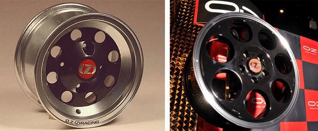 画像: 写真左側:「OZ」が初めて作った8穴デザインのホイール。写真右側:2016年の創業45周年時に発表された記念モデル「アニバーサリー45」は7穴だった。