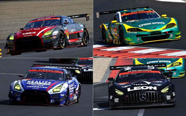 画像: スーパーGT GT300クラスで4強と目される11号車GAINER TANAX GT-R(左上)、56号車リアライズ日産自動車大学校 GT-R(左下)、52号車埼玉トヨペットGB GR Supra GT(右上)、65号車LEON PYRAMID AMG(右下)。