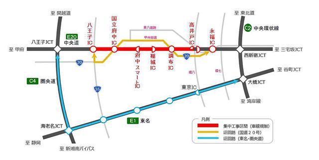 画像: 遠回りではあるが、圏央道〜東名高速を使った迂回ルートのほうが早く着く可能性が高い。