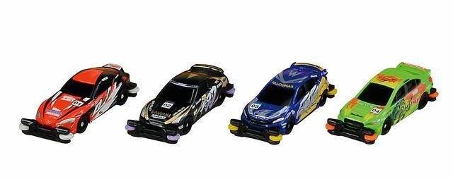 画像: 写真左から、GR スープラ/日産 GT-R/ホンダ シビック タイプR/スバル WRX STIの「スーパースピードトミカ」。