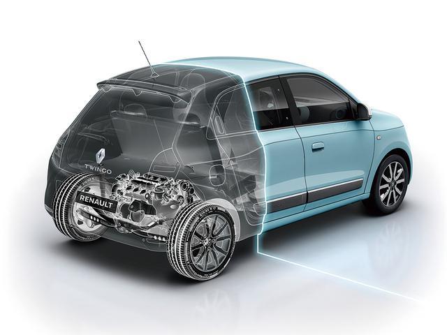 画像: トゥインゴは兄弟車のスマート フォーフォー(エンジン車)とメカニズムは共通。リアに搭載されたエンジンで後輪を駆動する。