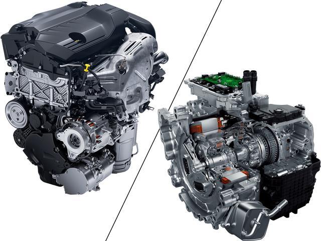 画像: PHEV仕様PureTech1.6L直4ターボガソリンエンジン(左)。PHEV専用8速オートマチックe-EAT8(右)は、トルクコンバーターの代わりに湿式多板クラッチを採用。