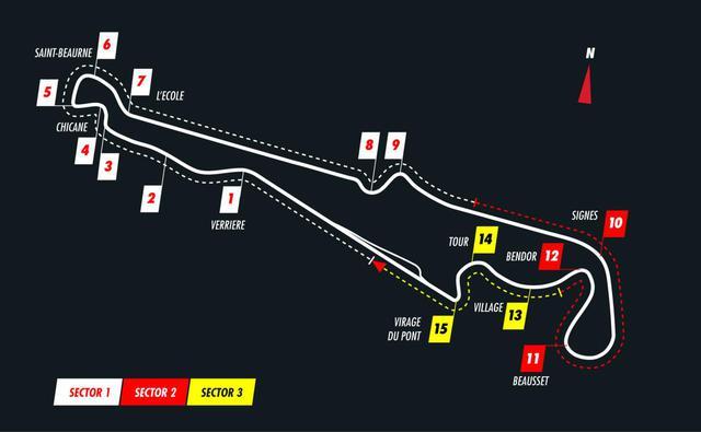 画像: ポールリカール・サーキットのコース図。長いストレートと高速コーナー、低速のタイトコーナーが組み合わされたタフなコース。