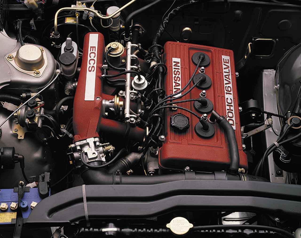 画像: FJ20E型エンジンは、16バルブ直4DOHC。150ps/18.5kgmの動力性能を発生した。
