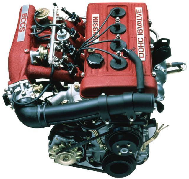 画像: 日産では久々のDOHCエンジンとして登場したFJ20E型。直4DOHC16バルブという構造はレーシングエンジンさながらだった。