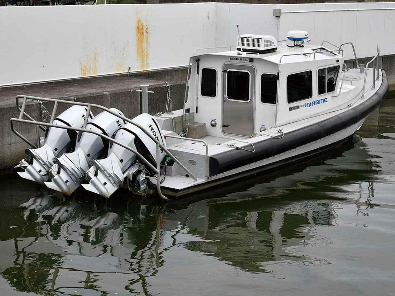 画像: 米沿岸警備隊の警備艇仕様に近い高速艇。BF250を3基がけしている。