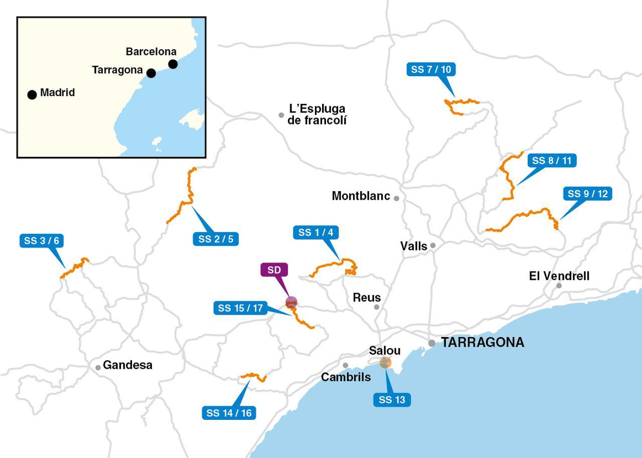 画像: ラリー・スペインのコースマップ。一部が過去に使われたステージと重なるが、オールターマックとなる今回は基本的には新しいステージ。グリップの高い路面が特徴だが、雨が降ると滑りやすくなる。