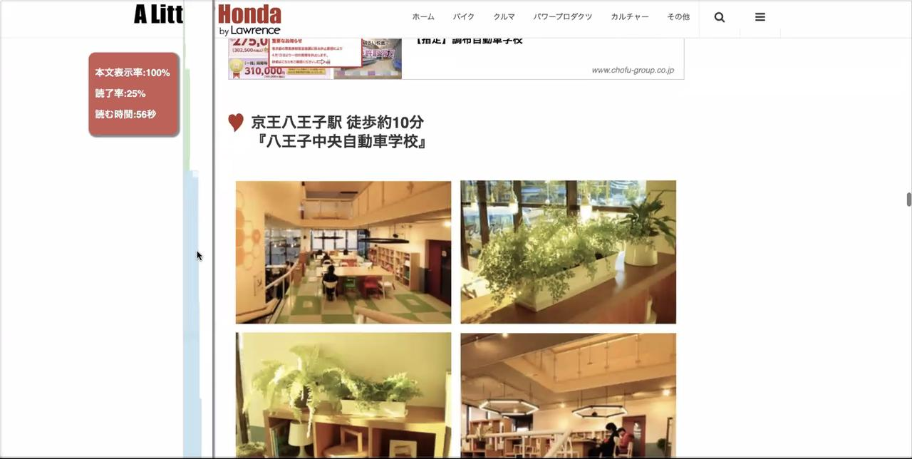 画像: 読了率計測実例 honda.lrnc.cc