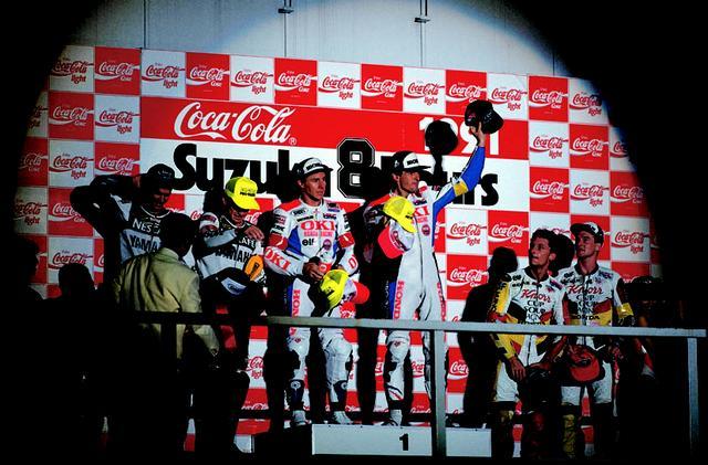 画像: 145周目、ケビン・マギー(ヤマハ)の転倒で首位に立ったガードナー/ドゥーハン組は、そのまま優勝。1989年から最強ペアと呼ばれながら勝てなかったガードナー/ドゥーハン組は、ついに1991年に表彰台の頂点に立ちました。 オートバイ/モーターマガジン社