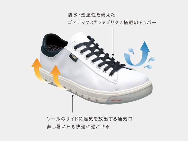 画像: サイズ:23.5-27.0cm 色展開:グリーンパターン、ホワイト×レッド、ブラック、ホワイト 価格:¥17,280(include tax) www.regalshoes.jp