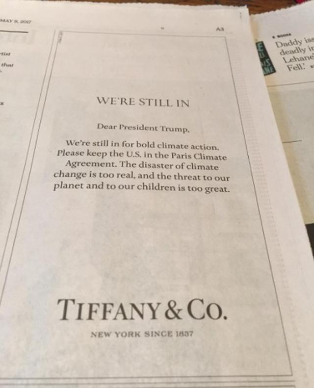 画像: 新聞広告も使ってトランプ大統領にアピール