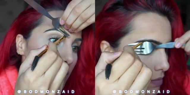 画像: フォークを使った眉毛の描き方