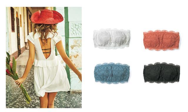 画像: 左:オープンバックフリルミニワンピ 6,980円(+tax) カラー:オフホワイト、ブラック(全2色) 右:PJ COLORS パデットバッククロスチューブ 1,680円(+tax) カラー:ホワイト、ブラック、テラコッタ、ティール(全3色)