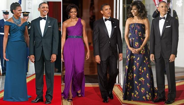 画像: 言われてみれば確かに、ミシェル夫人は様々な装いを披露しているものの、オバマ氏はずっと同じタキシードを着用していた。