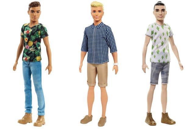 画像: 左から、小麦肌スリムケン、金髪標準体型ケン、マンバン(お団子ヘア)アジア系ケン。