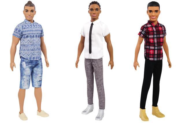 画像: 左から、ほんのり日焼け肌がっちり体型ケン、スリム体型コーンロウ(三つ編み)ケン、標準体型アフリカ系ケン。