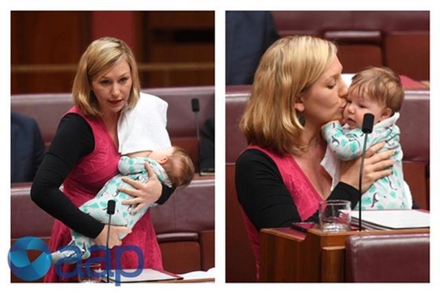 画像1: 議会で法案提出中に授乳、オーストラリアの女性議員の行動に賛否両論