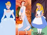 画像: 左からシンデレラ、ベル、アリス。©Disney