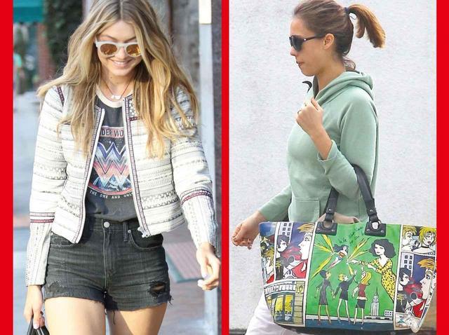 画像: (左):トップモデルのジジ・ハディッドは、ワンダーウーマンのTシャツを、(右)女優のジェシカ・アルバはバッグをプライベートでも愛用して