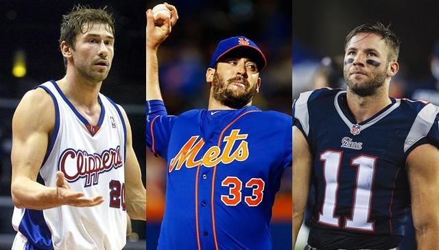 画像: 左から、マルコ(バスケ選手)、マット(野球選手)、ジュリアン(アメフト選手)。