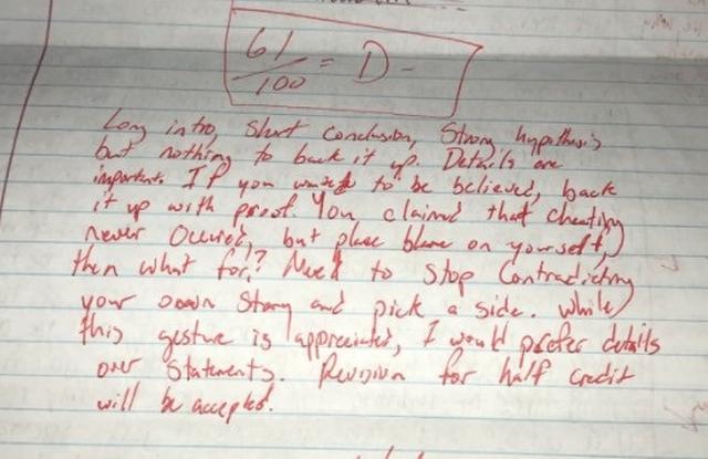 画像2: 元カノの謝罪文を採点してSNSにアップした学生が停学処分