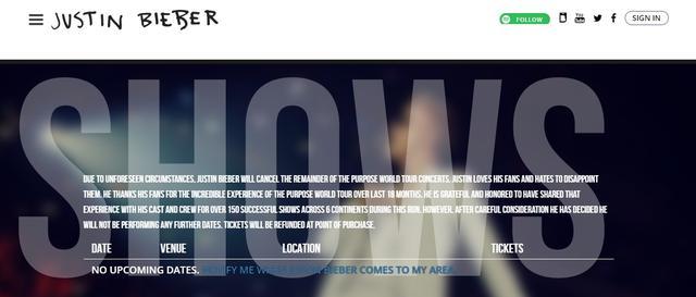 画像: 公式ページの声明文。 ©Justin Bieber