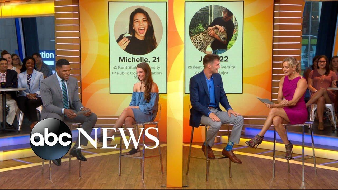 画像: Tinder couple whose 3 years of messages went viral meets for 1st time on 'GMA' www.youtube.com