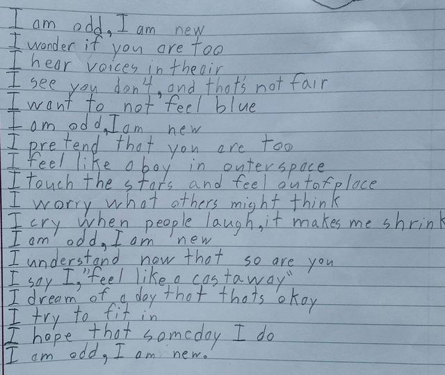 画像: 自閉症の10歳の少年が書いた「私は」というタイトルのポエムが深い