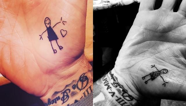 画像: 左がハーパーちゃんの落書き。右がタトゥー。©David Beckham, Victoria Beckham/ Instagram
