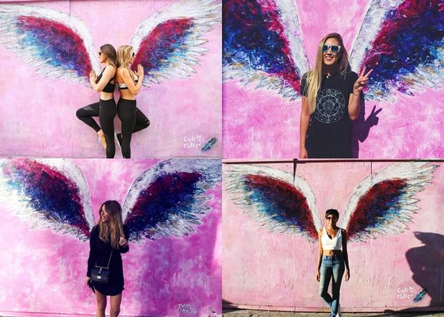画像: アーティストのコレット・ミラーが制作している天使の羽をモチーフにした同アートは世界中に存在。ピンクの壁に描かれたメルローズ通りの作品は特に人気が高い1作。©Instagram