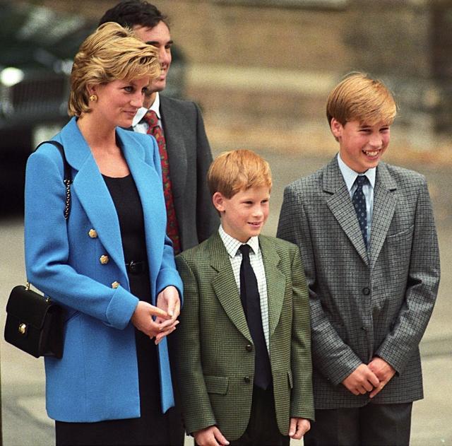 画像: 今は亡き母ダイアナ妃と一緒にいる兄ウィリアム王子と弟ヘンリー王子。